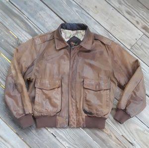 Reed Vtg Genuine Leather Bomber Jacket Brown 40